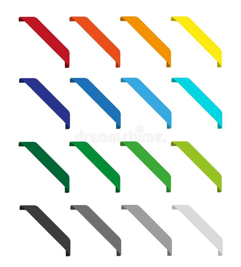 Uppsättning av isolerade färgrika band royaltyfri illustrationer