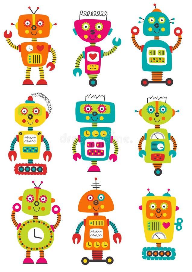 Uppsättning av isolerade färgrika robotar royaltyfri illustrationer