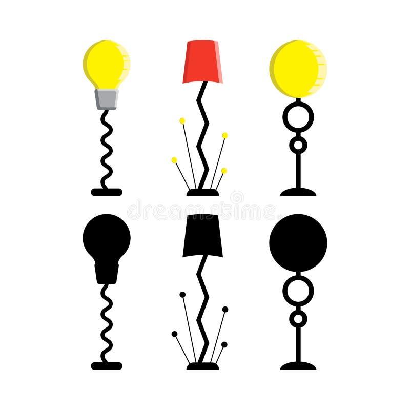 Uppsättning av isolerade golvlampor på vit bakgrund lighting också vektor för coreldrawillustration vektor illustrationer