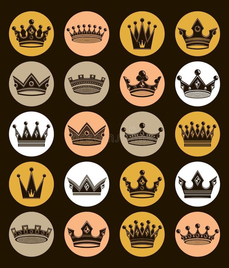 Uppsättning av isolerade guld- kronor för kunglig person 3d Majestätisk klassiker vektor illustrationer