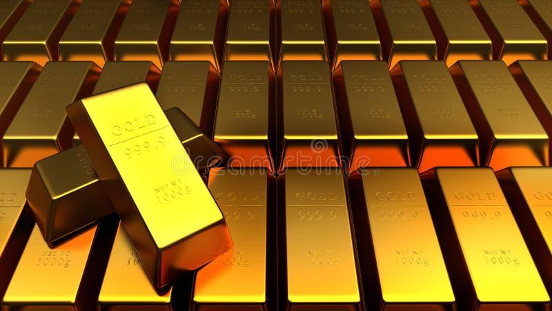 Uppsättning av isolerade guld- stänger stock illustrationer