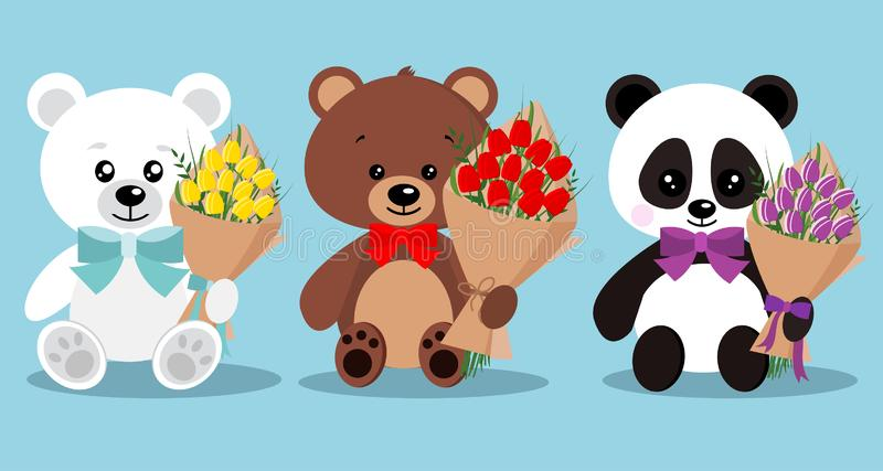 Uppsättning av isolerade gulliga eleganta feriebjörnar med flugan, i att sitta posera med buketten royaltyfri illustrationer