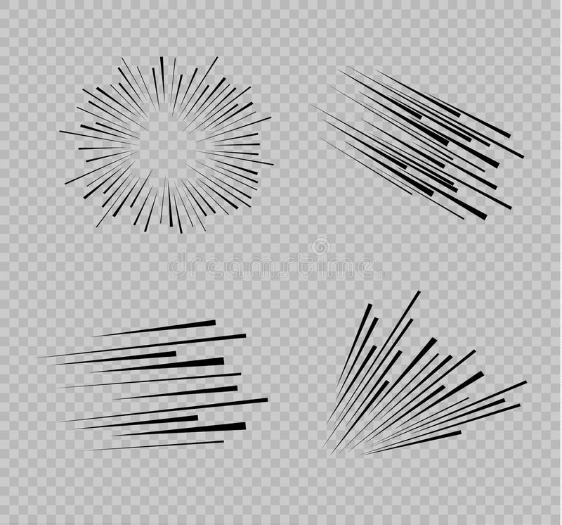 Uppsättning av isolerade hastighetslinjer Effekten av rörelse till din design Svart fodrar på en genomskinlig bakgrund Flyget stock illustrationer