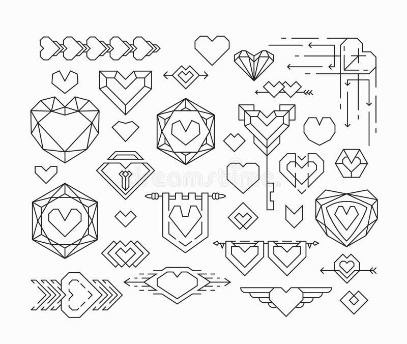 Uppsättning av isolerade hjärtor och den romantical tunna linjen designbeståndsdelar vektor illustrationer