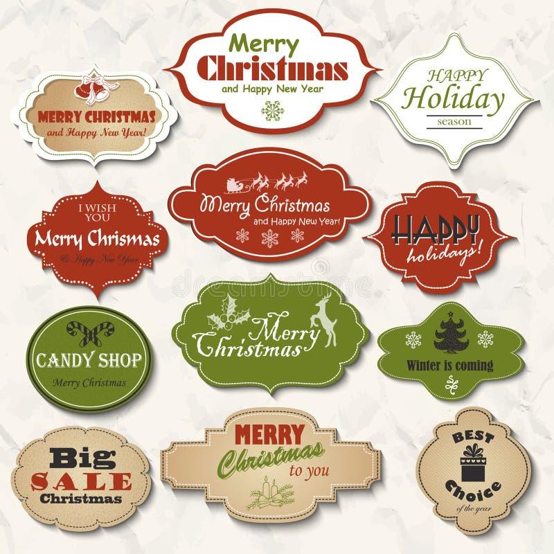 Uppsättning av isolerade julramar och etiketter också vektor för coreldrawillustration stock illustrationer