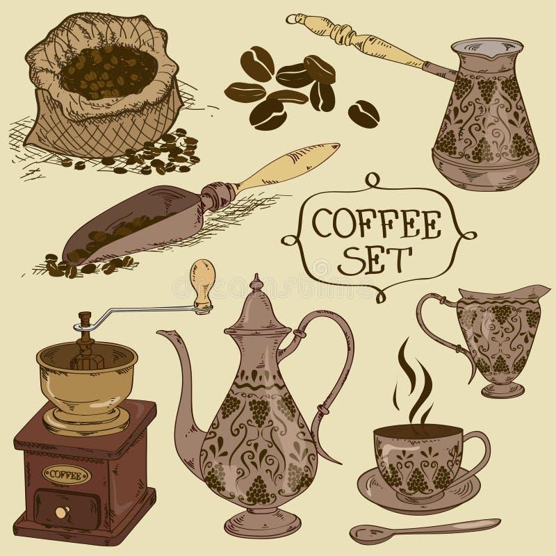 Download Uppsättning Av Isolerade Kaffesymboler Vektor Illustrationer - Illustration av grinder, isolerat: 37347085