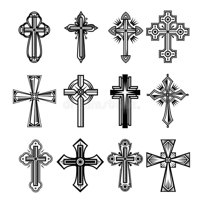 Uppsättning av isolerade kristen- och katolicismkors royaltyfri illustrationer