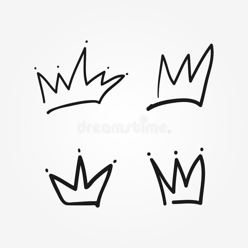 Uppsättning av isolerade kronor som dras av handen Skissa, klottra, klottra royaltyfri illustrationer