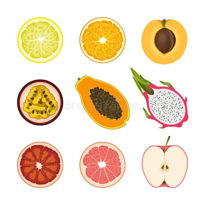 Uppsättning av isolerade kulöra skivor av citronen, apelsinen, aprikons, passionfrukt, pawpawen, drakefrukt, den rosa grapefrukte royaltyfri illustrationer