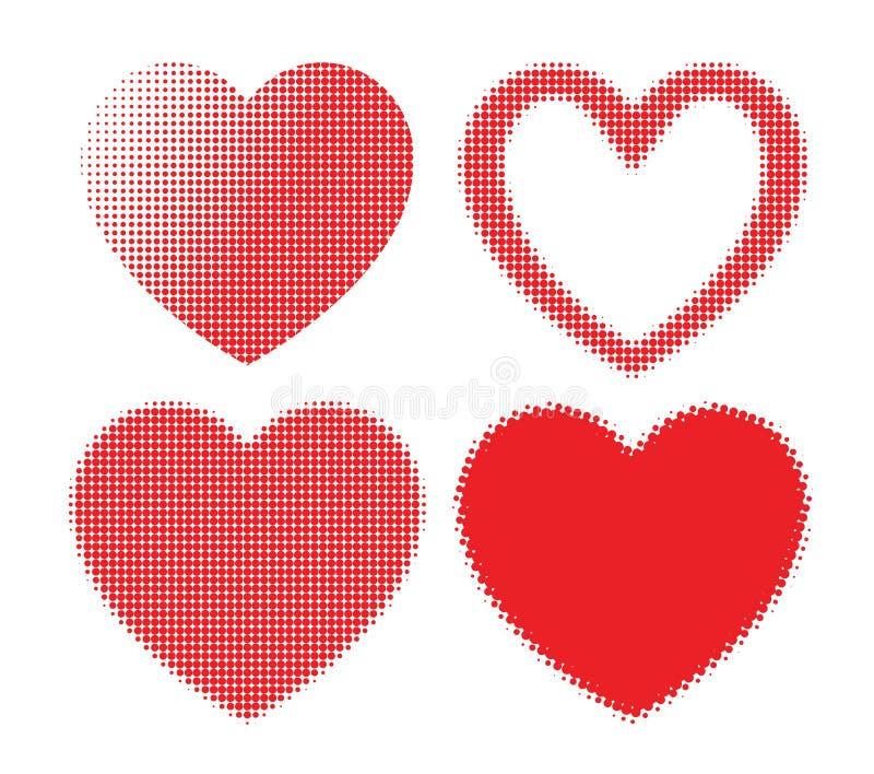 Uppsättning av isolerade röda hjärtor med rastrerad effekt vektor illustrationer