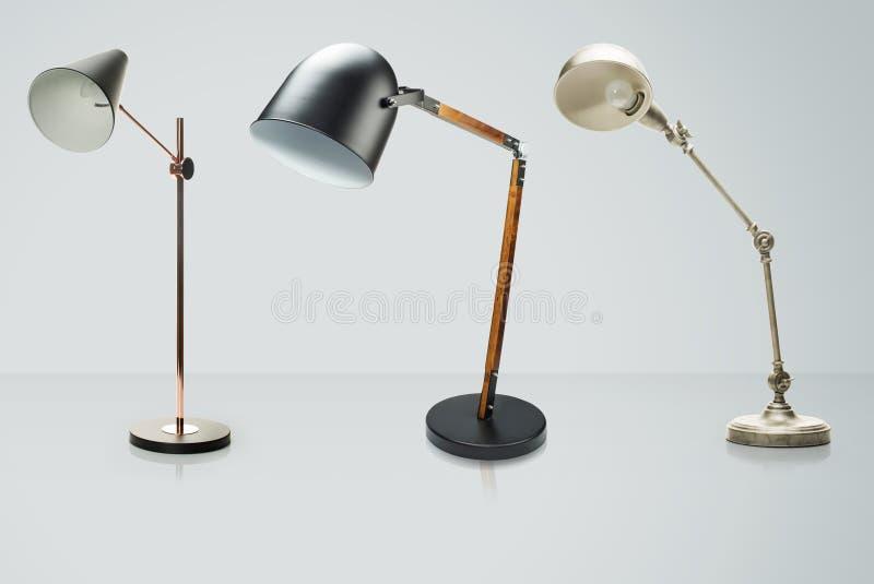 Uppsättning av isolerade skrivbordlampor på vit, med den snabba banan stock illustrationer