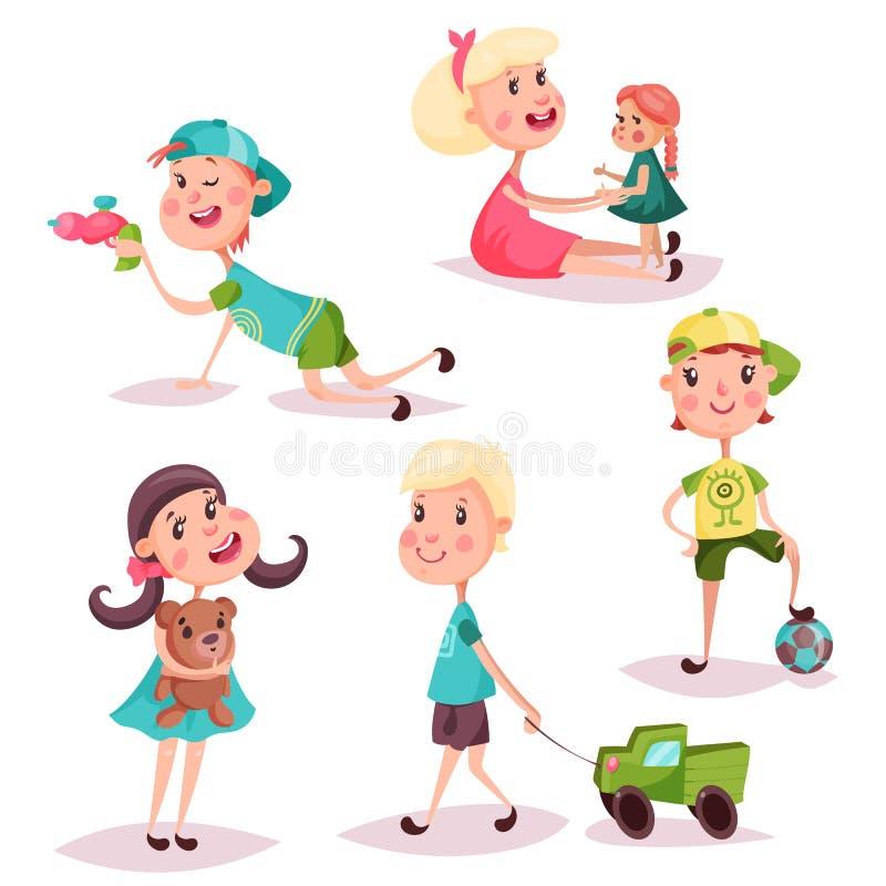 Uppsättning av isolerade spela ungar eller barn royaltyfri illustrationer