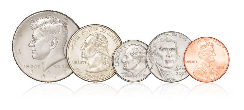 Uppsättning av isolerade USA-mynt arkivfoto