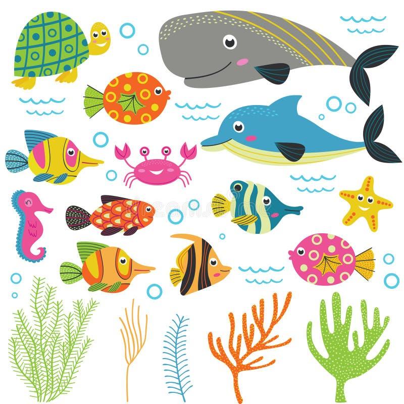 Uppsättning av isolerat med del 2 för marin- djur vektor illustrationer