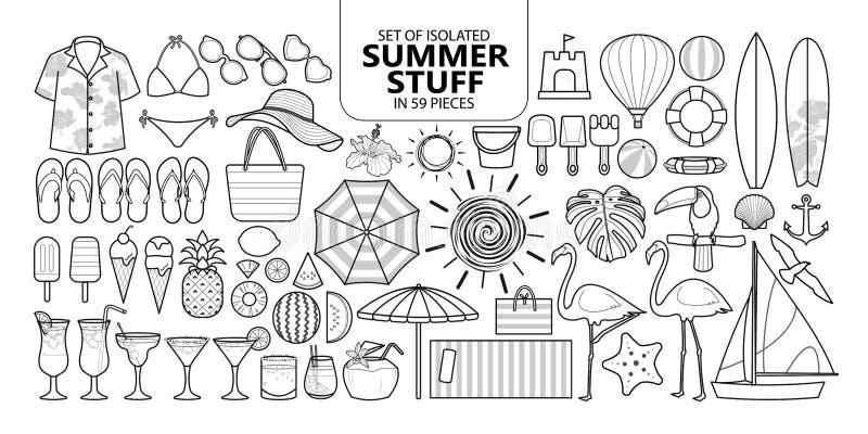 Uppsättning av isolerat sommarmaterial i 59 stycken royaltyfri illustrationer