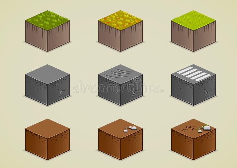 Uppsättning av isometrisk jordning stock illustrationer