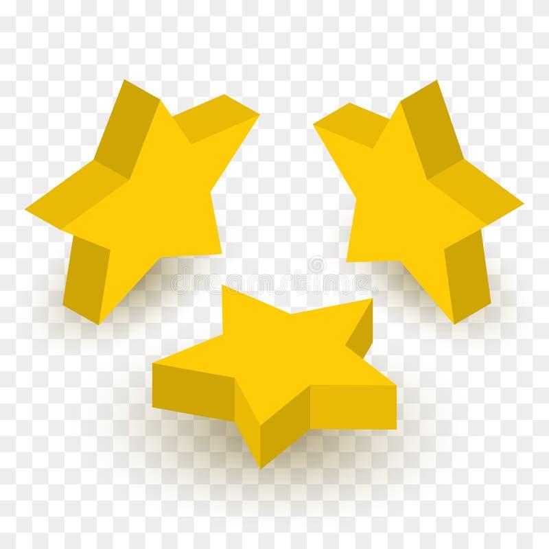 Uppsättning av isometriska guld- stjärnor kantlagrar låter vara vektorn för oakbandmallen stock illustrationer