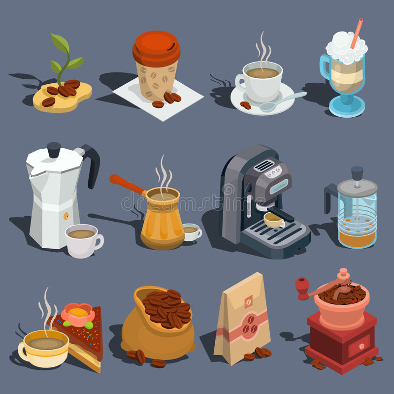 Uppsättning av isometriska kaffesymboler för vektor, klistermärkear, tryck, designbeståndsdelar stock illustrationer