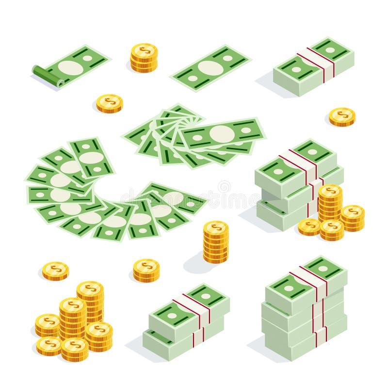 Uppsättning av isometriska pengar som isoleras på vit bakgrund royaltyfri illustrationer