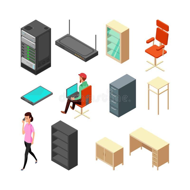 Uppsättning av isometriska symboler för kontor Server, fåtölj, tabell, skåp och personal Plan vektorillustration stock illustrationer