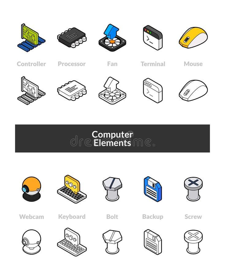 Uppsättning av isometriska symboler i versioner för stil för otline kulöra och svarta, royaltyfri illustrationer