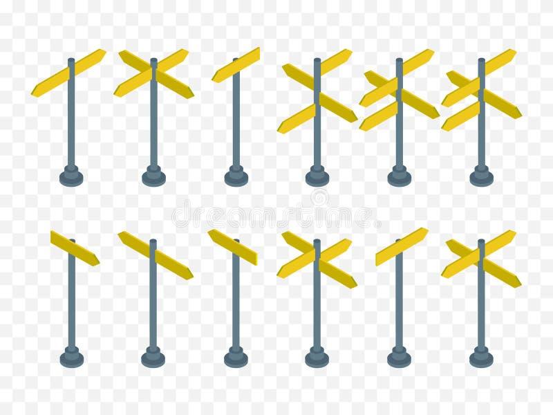 Uppsättning av isometriska vägmärken som isoleras på rutig bakgrund vektor stock illustrationer