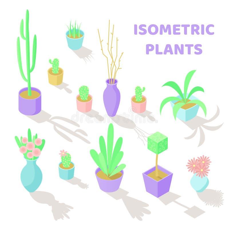Uppsättning av isometriska växter för vektor vektor illustrationer