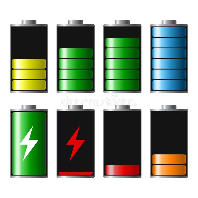 Uppsättning av jämna indikatorer för batteriladdning, från mycket till bottenläget Discha vektor illustrationer