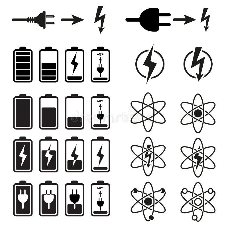 Uppsättning av jämna indikatorer för batteriladdning på vit stock illustrationer