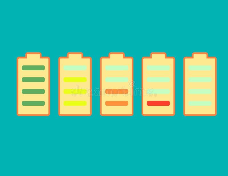 Uppsättning av jämna indikatorer för batteriladdning som isoleras på vit bakgrund symboler för pappfärgsymbol ställde in vektorn  stock illustrationer
