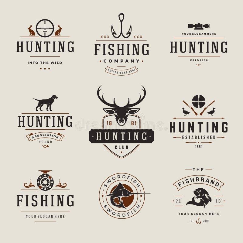 Uppsättning av jakt- och fiskeetiketter, emblem, logoer