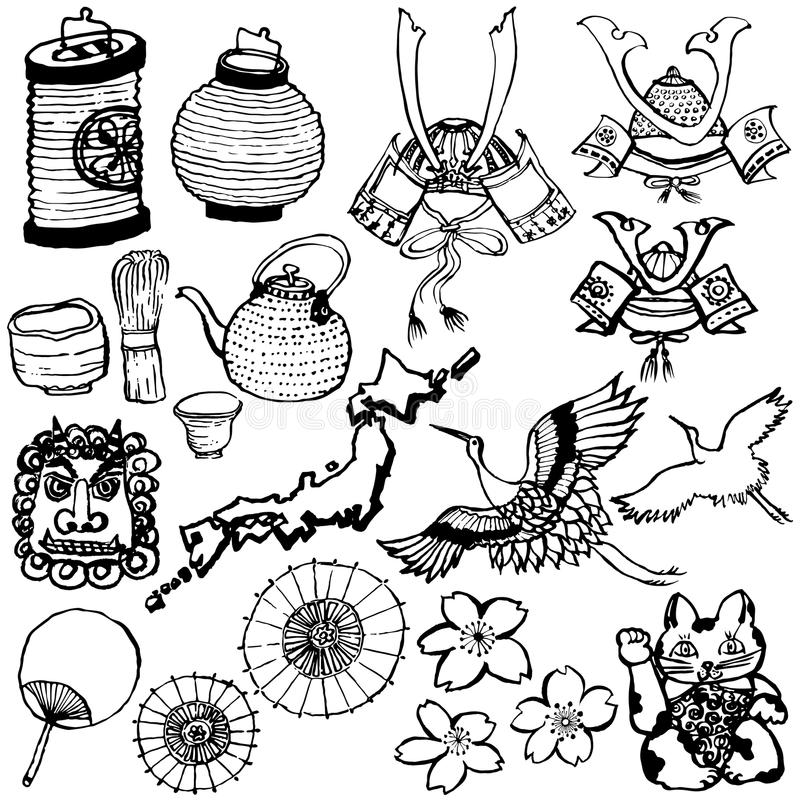 Uppsättning av japanska turist- dragningar stock illustrationer