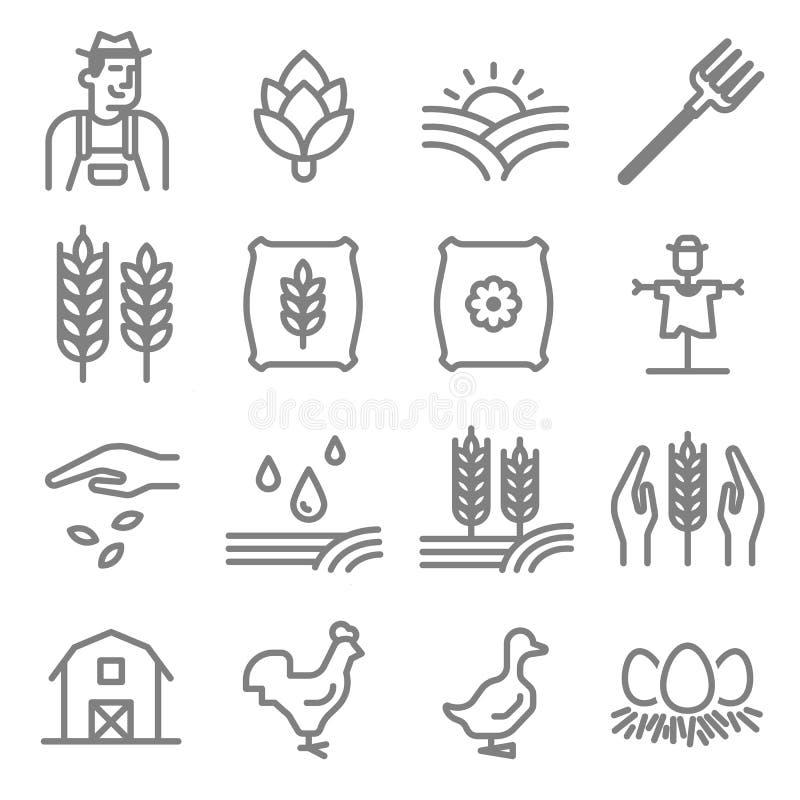 Uppsättning av jordbruk- och lantbruklinjen symboler royaltyfri illustrationer