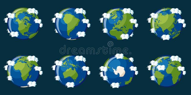 Uppsättning av jordklot som visar planetjorden med olika kontinenter vektor illustrationer
