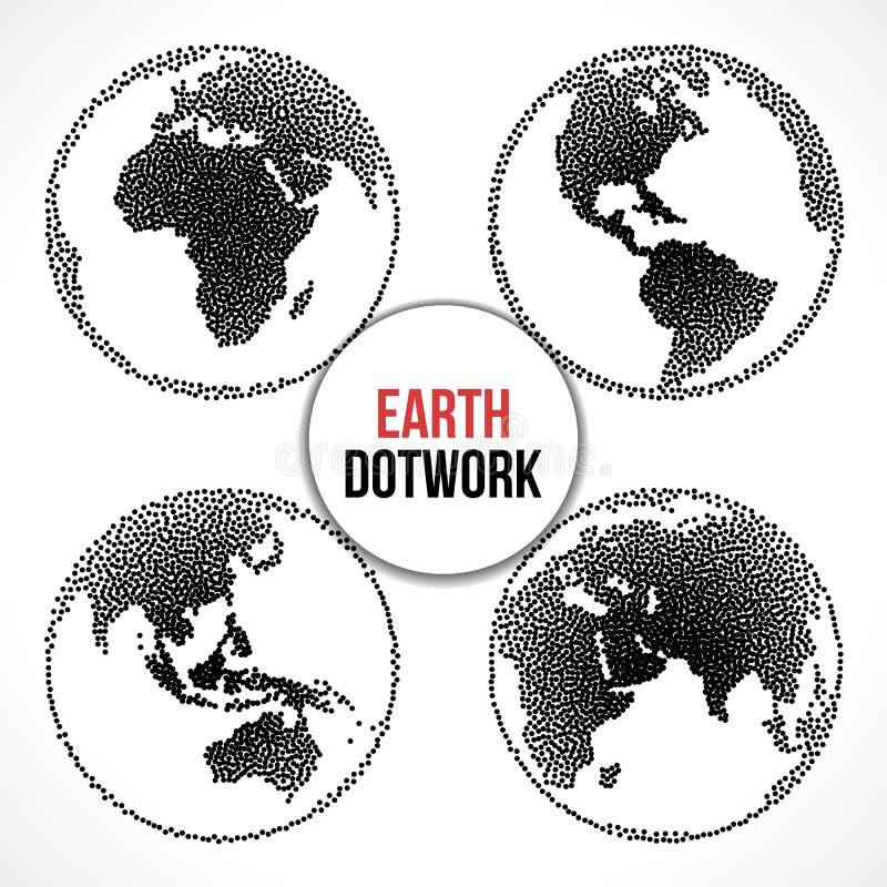 Uppsättning av jordplanetjordklotet Vektor Dotwork royaltyfri illustrationer