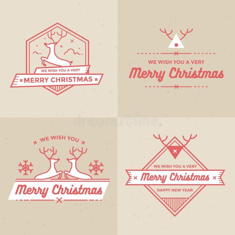 Uppsättning av jul och feriegarneringemblem, baner, etikettvektoruppsättning vektor illustrationer