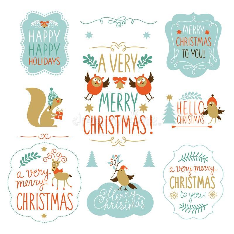 Uppsättning av jul som märker, och grafiska beståndsdelar stock illustrationer