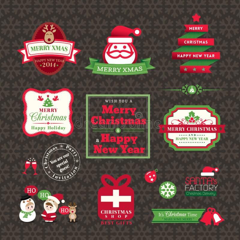 Uppsättning av juletikett- och ramdesignen stock illustrationer