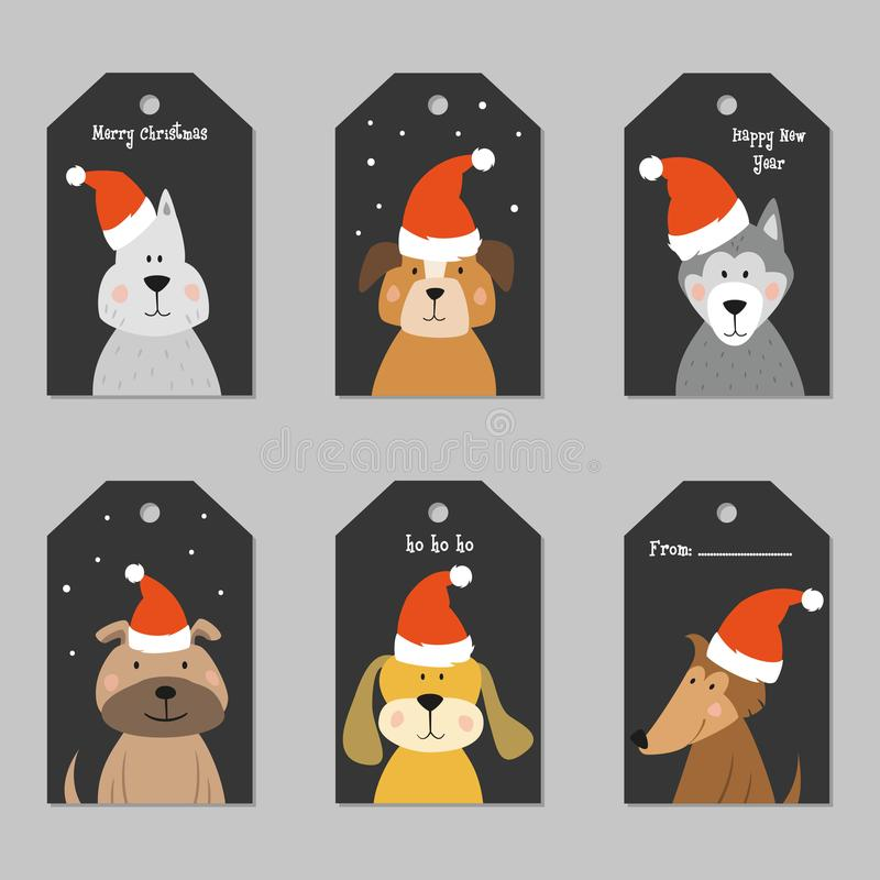 Uppsättning av juletiketter med tecknad filmhundkapplöpning royaltyfri illustrationer