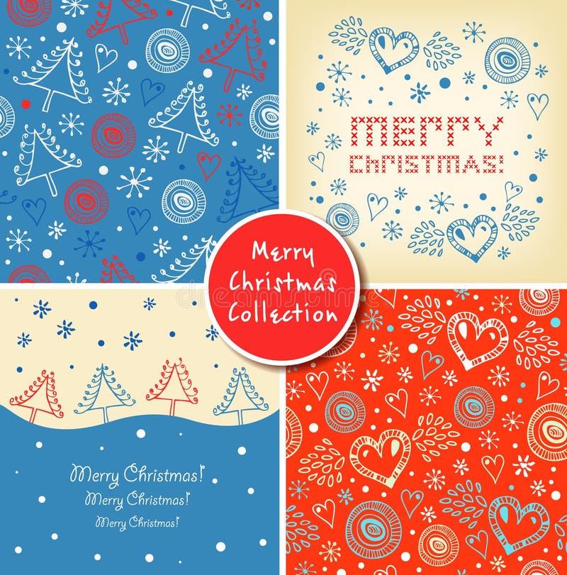 Uppsättning av julferiebaner Samling av gulliga beståndsdelar för jul, bakgrunder, modeller stock illustrationer