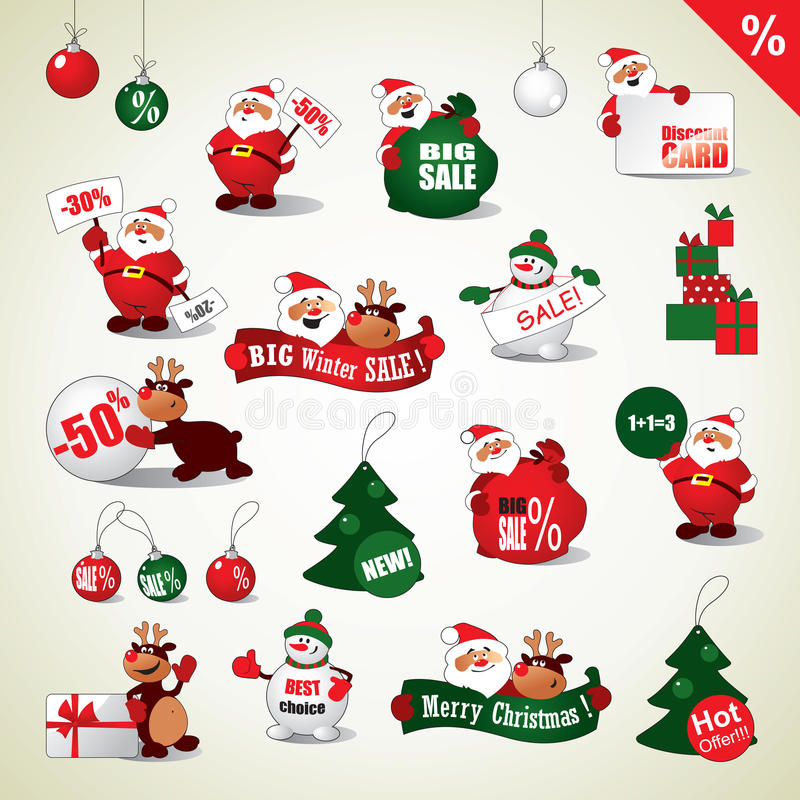 Uppsättning av julklistermärkear och Sale symboler vektor illustrationer
