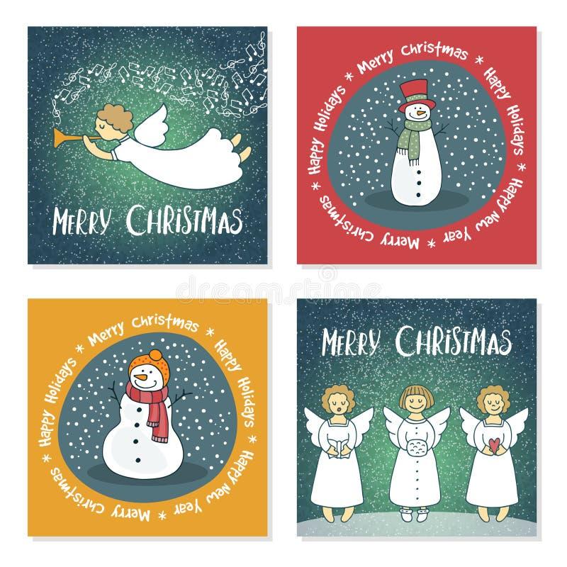 Uppsättning av julkort med änglar och snögubbear stock illustrationer