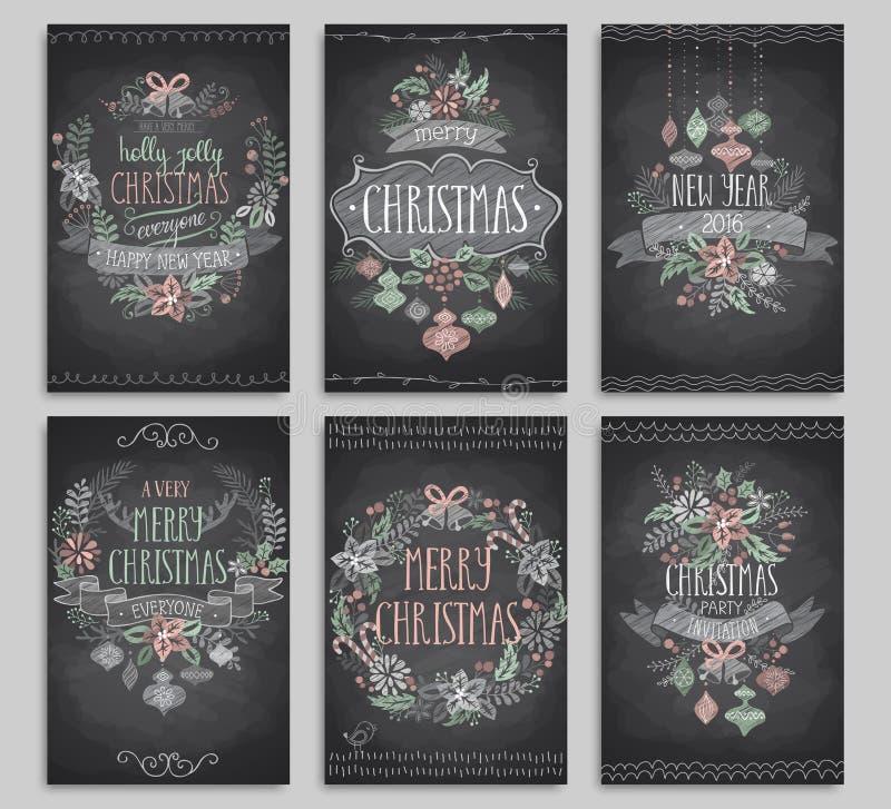 Uppsättning av julkort - svart tavla royaltyfri illustrationer
