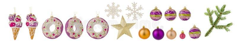 Uppsättning av julleksaker som isoleras på vit bakgrund Bollar, prydlig filial, snöflingor och andra leksaker som clipart för des arkivfoto