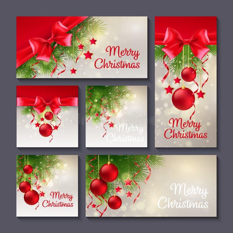 Uppsättning av julmallar för tryck eller rengöringsdukdesign vektor illustrationer
