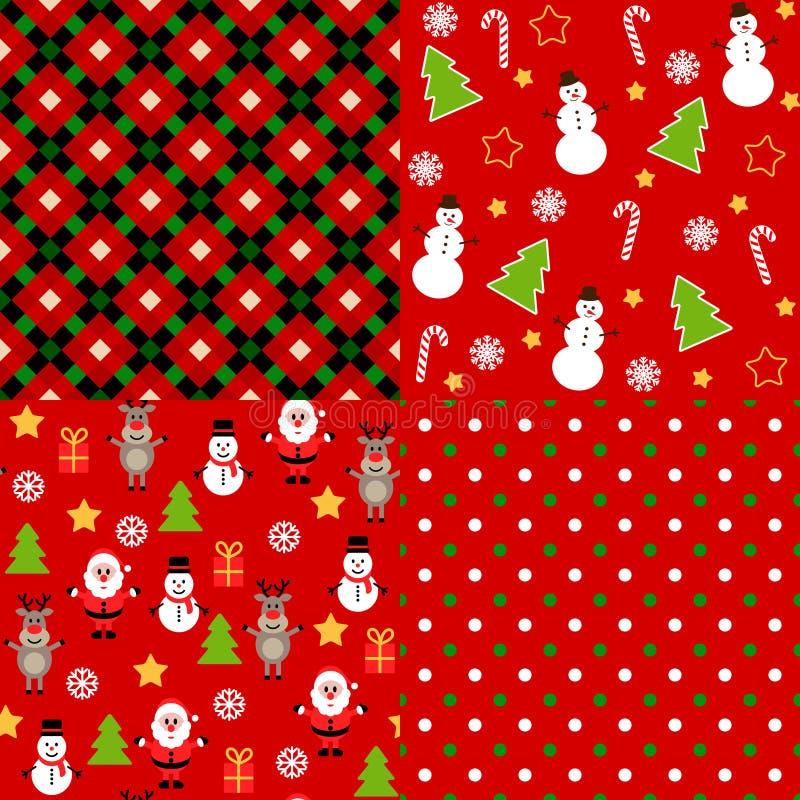Uppsättning av julmodeller royaltyfri illustrationer