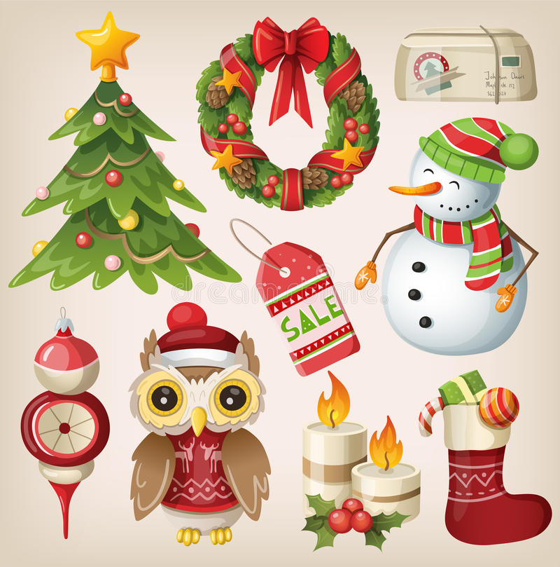 Uppsättning av julobjekt royaltyfri illustrationer