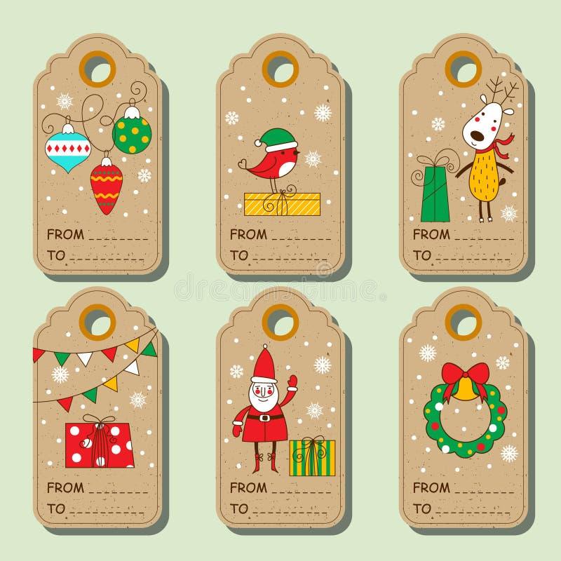 Uppsättning av julpappersetiketter royaltyfri illustrationer