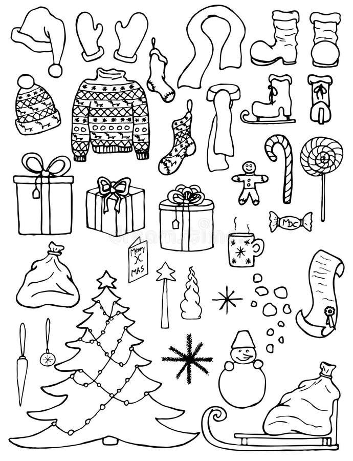Uppsättning av julsymboler i klotterstil royaltyfri illustrationer