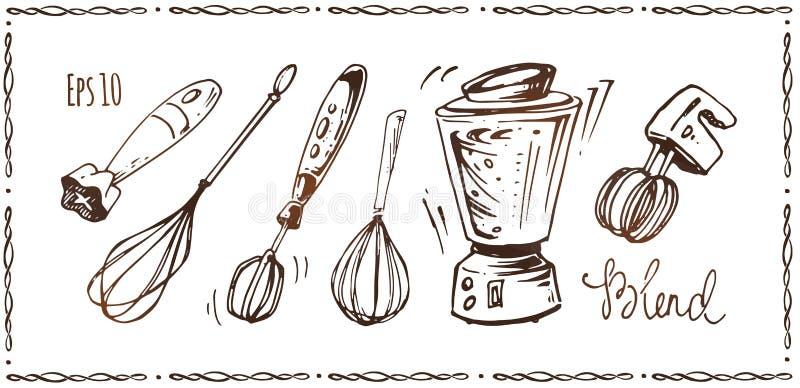 Uppsättning av kökanordningar Den drog handen skissar stock illustrationer